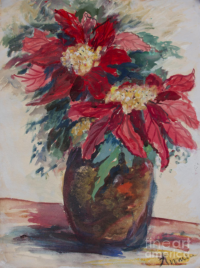 Holiday Flowers Painting - Poinsettias In A Brown Vase by Avonelle Kelsey