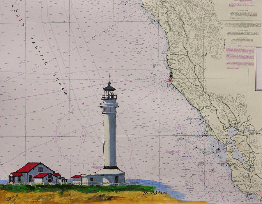Point Arena Lighthouse on a NOAA Nautical Chart by Mike Robles