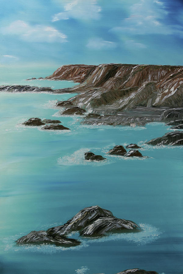 Seascape Painting - Point Arena by Robin Lee