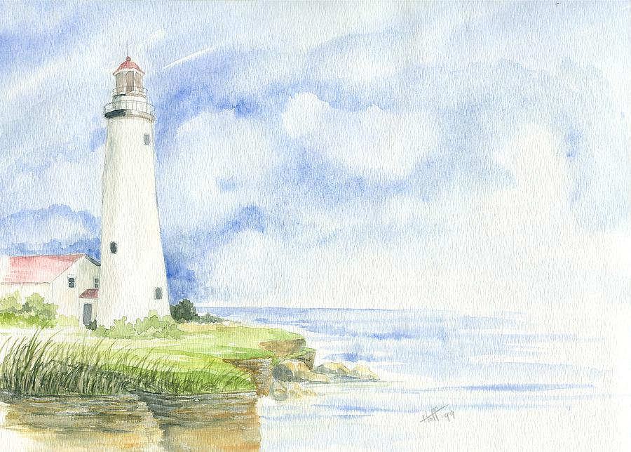 Lighthouse Painting - Point Aux Barques Lighthouse by Denise   Hoff