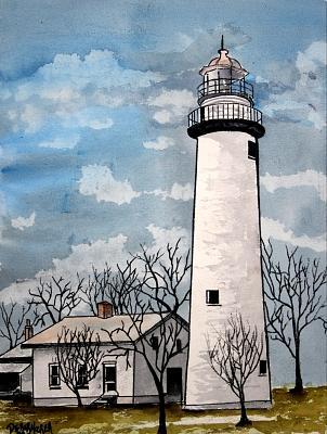 Point Aux Barques Lighthouse Painting by Derek Mccrea