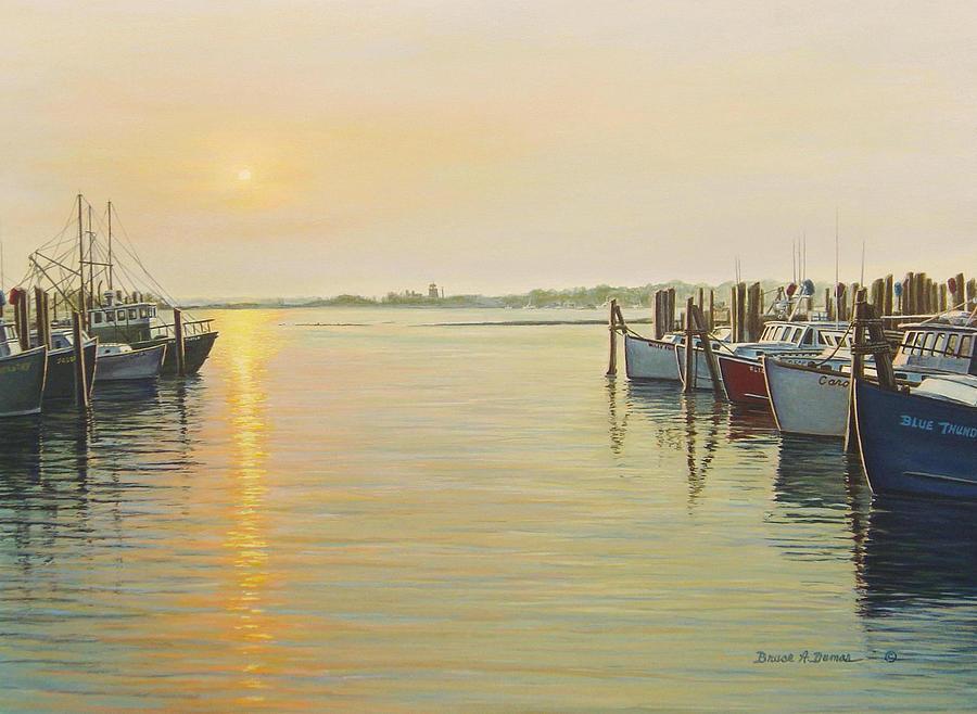 Boat Painting - Point Judith Harbor by Bruce Dumas
