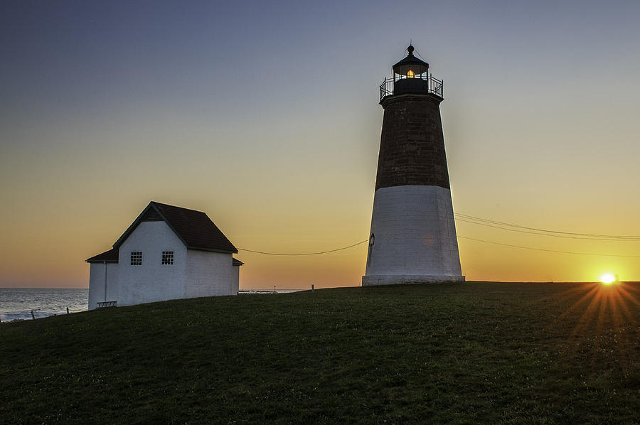 Lighthouse Art Photograph - Point Judith Light At Sunset by Thomas Schoeller