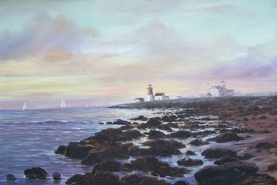 Seascape Painting - Point Judith Light R I by Perrys Fine Art