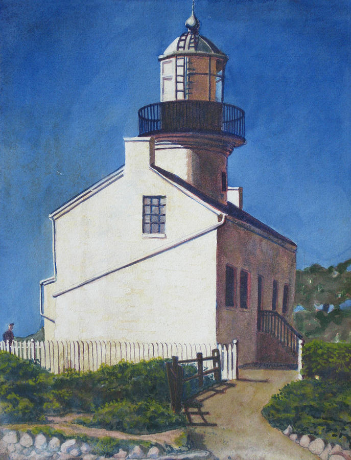 Landscape Painting - Point Loma Lighthouse by D T LaVercombe