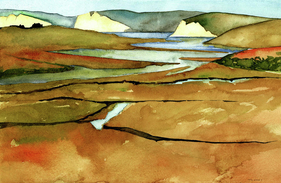 Watercolor Painting - Point Reyes, Ca, Drakes Beach Estuary, Midday Tide, Watercolor Plein Air by Catherine Twomey
