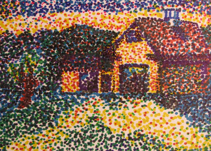 pointillism barn drawing by kimberly abraham