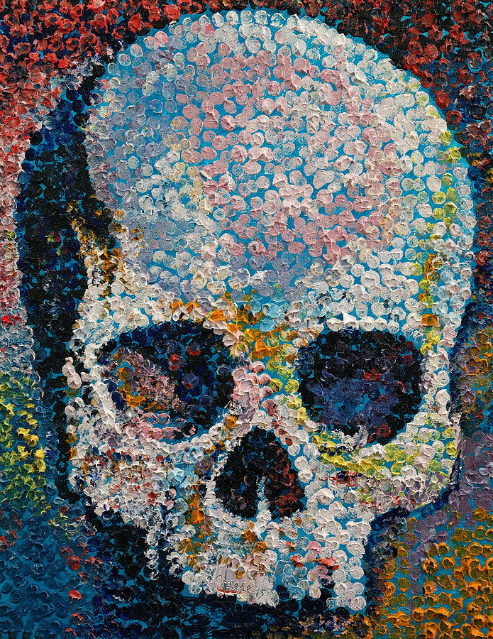 Pointillism Skull Painting By Michael Creese