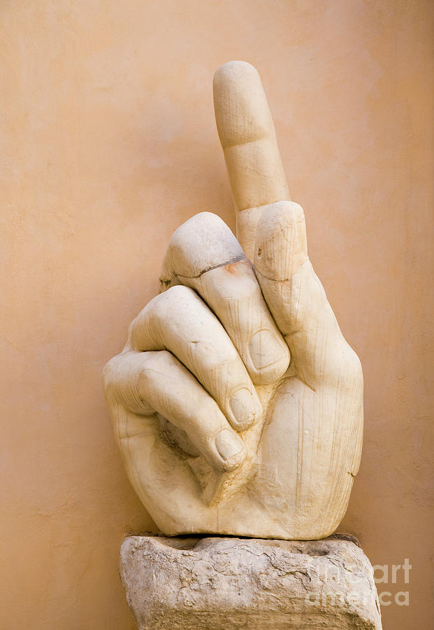 Rome Photograph - Pointing finger, statue of Constantine, Rome, Italy by Damian Davies