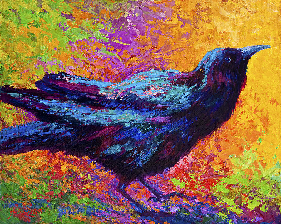 Crows Painting - Poised - Crow by Marion Rose