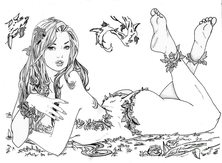 Poison Drawing - Poison Ivy - Grayscale by Bill Richards