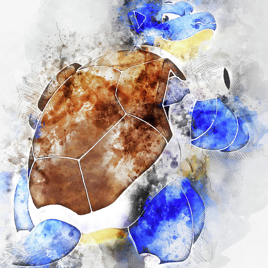 63985b9b Pokemon Blastoise Abstract Portrait - By Diana Van Painting by Diana ...