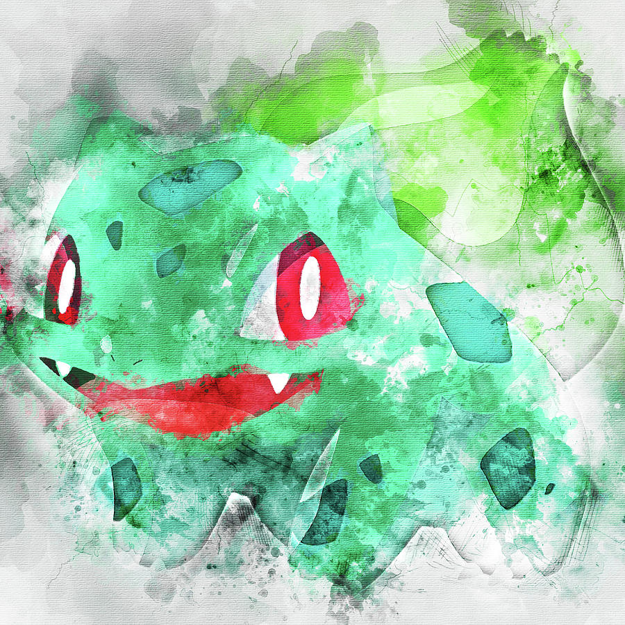 44e83b36 Pokemon Bulbasaur Abstract Portrait - By Diana Van Painting by ...