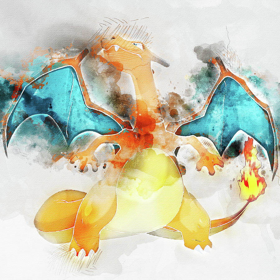 88e7bf87 Pokemon Charizard Abstract Portrait - By Diana Van Painting by ...