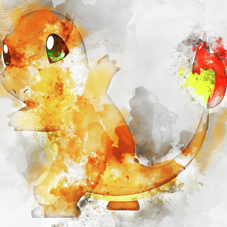 06f51f38 Pokemon Charmander Abstract Portrait - By Diana Van Painting by ...