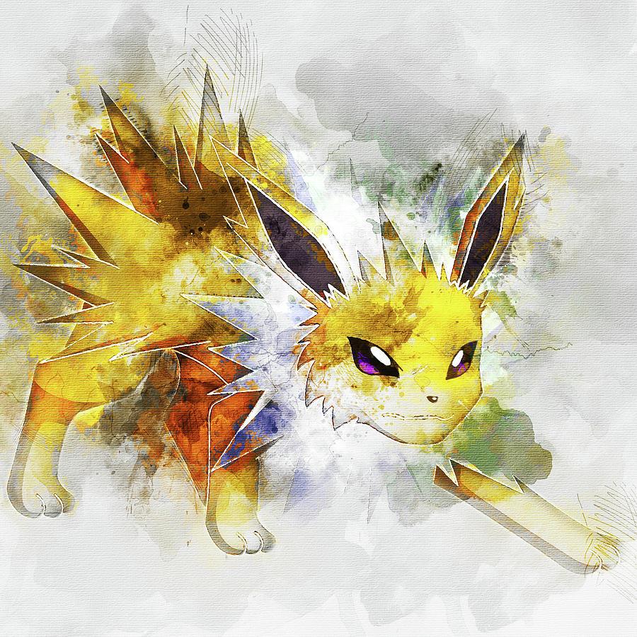 a8364d5e Pokemon Digital Art - Pokemon Jolteon Abstract Portrait - By Diana Van by  Diana Van