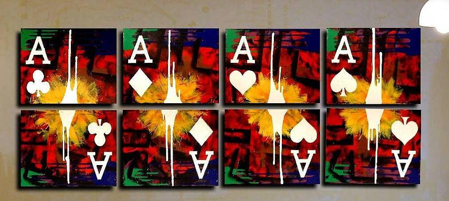 Poker Painting - Poker Art Aces Drips by Teo Alfonso