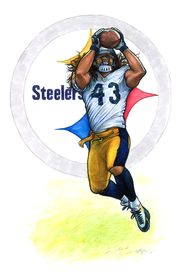 Polamalu Drawing By Erik Schutzman