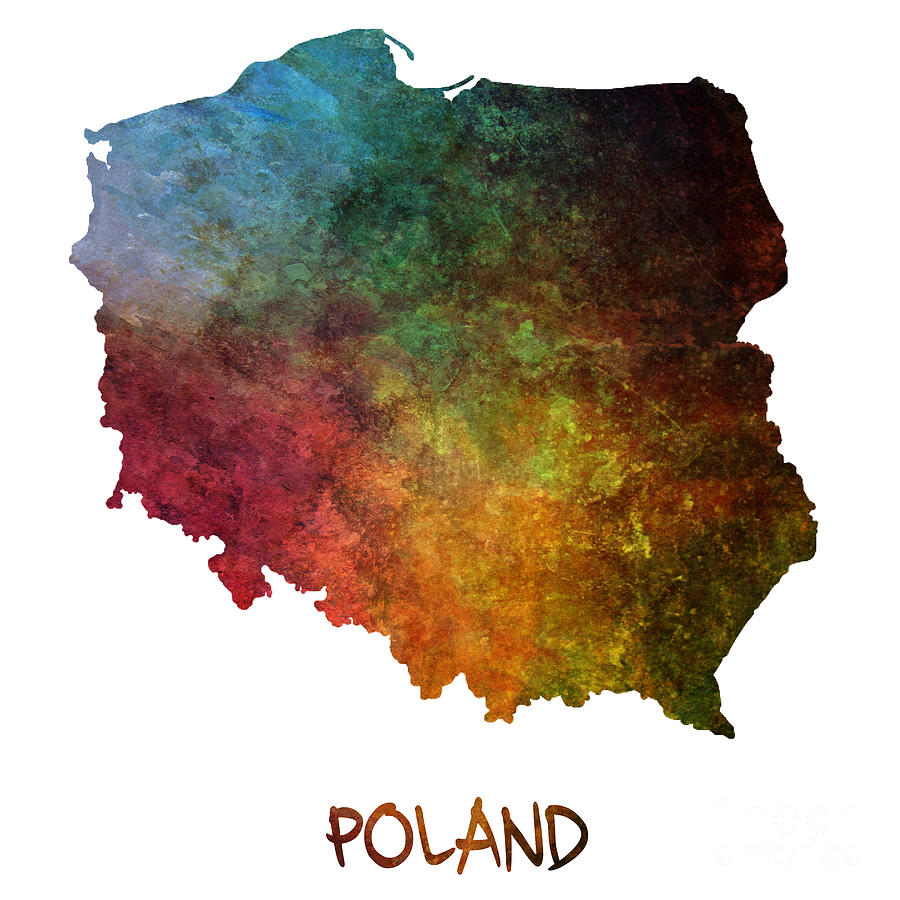 Poland Painting - Poland Map Polska Map by Justyna JBJart