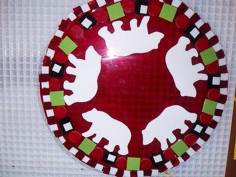 Fused Glass Glass Art - Polar Bear Circus by Beverlee Olson