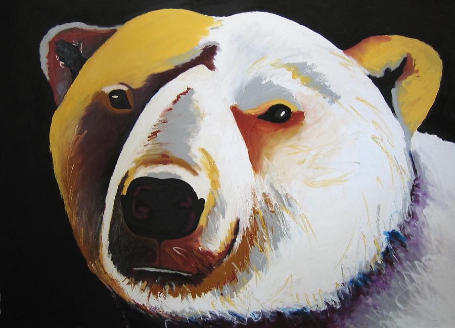 Polar Bear Fishing Painting by Brenda Wolf
