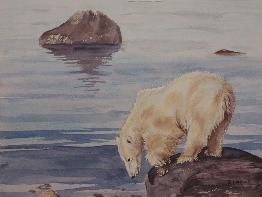 Polar Bear Painting - Polar Bear Fishing by Debbie Homewood