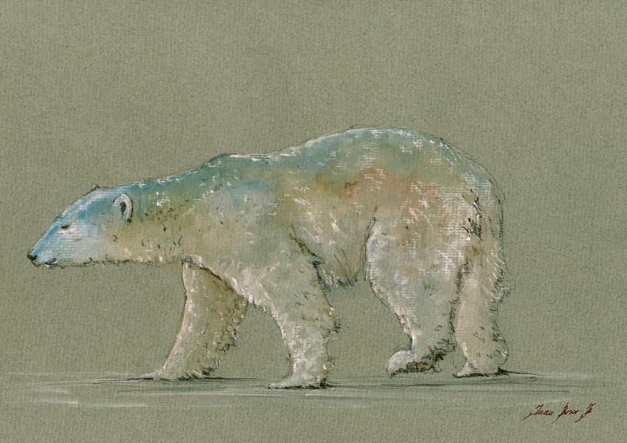 Polar Bear Painting - Polar bear original watercolor painting art by Juan  Bosco