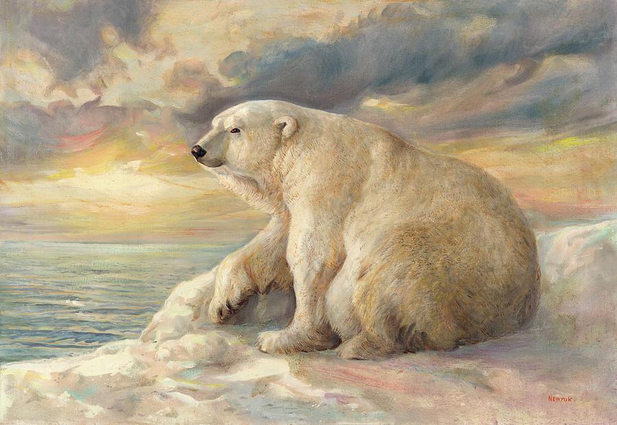 Polar Bear Painting - Polar Bear Rests On The Ice - Arctic Alaska by Svitozar Nenyuk