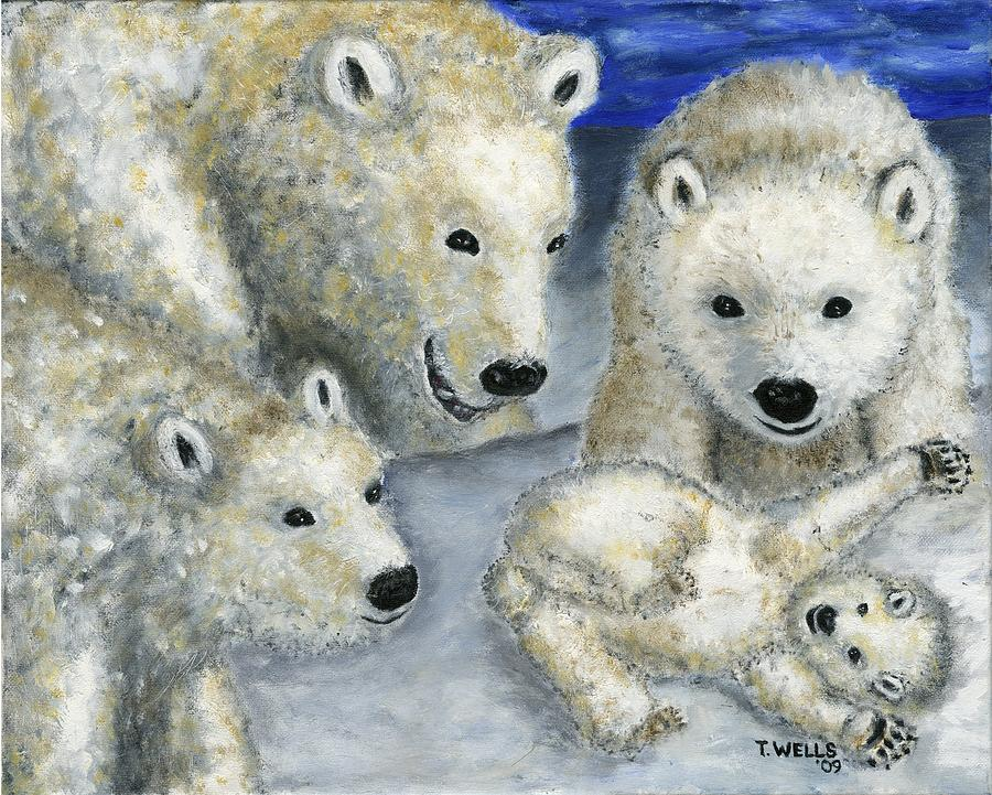 Polar Bears Painting - Polar Bears At Play In The Arctic by Tanna Lee M Wells