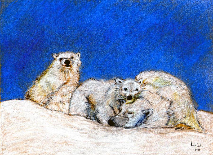 Polar Bears Digital Art - Polar Bears With Love by Marie Loh