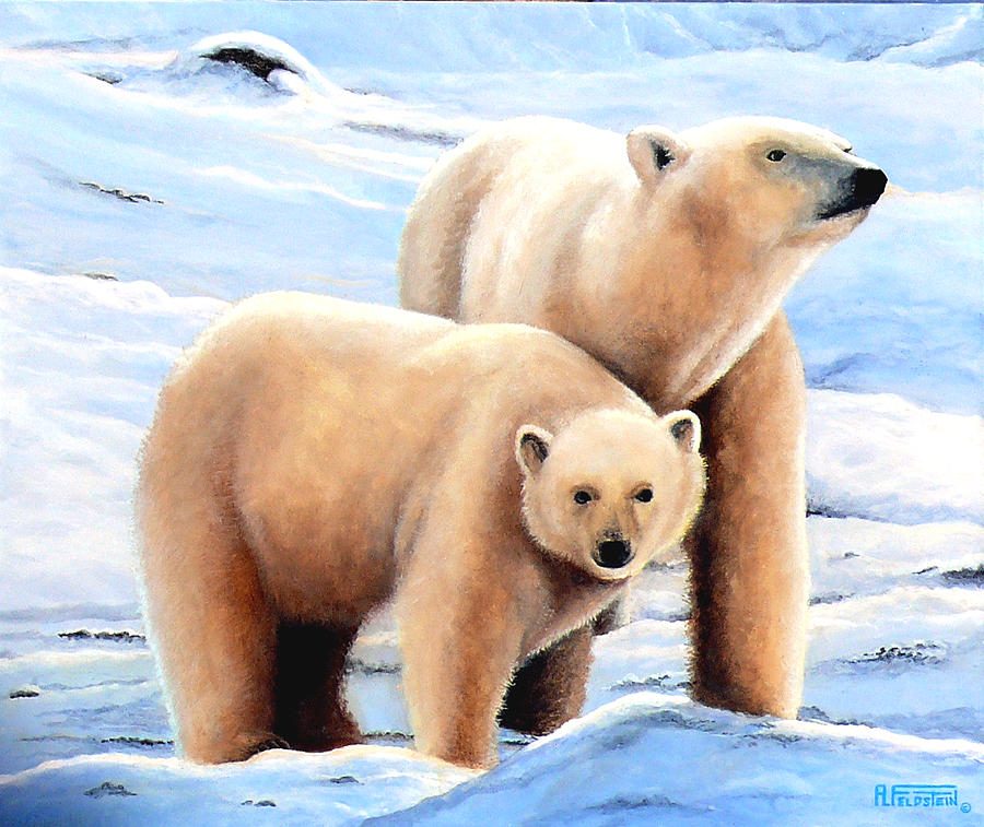 Polar Bear Painting - Polar Mom And Cub by Al Feldstein