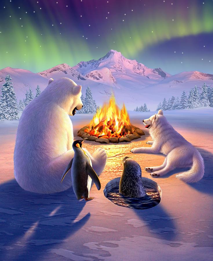 Arctic Digital Art - Polar Pals by Jerry LoFaro