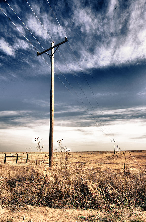 Pole In Field Photograph