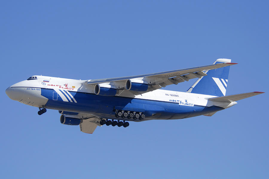 Airplane Photograph - Polet Antonov An-124 Ra-82080 Landing Phoenix-mesa Gateway Airport January 14  by Brian Lockett