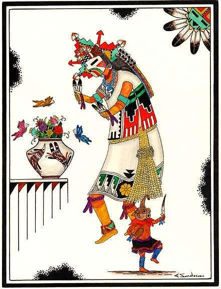 Poli Mana And Koyemses-butterfly And Mud Heads Mixed Media by Edgar Sumatzkuku