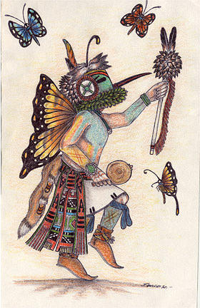 Playing Flute Mixed Media - Poli Taka-butterfly Kachina by J David