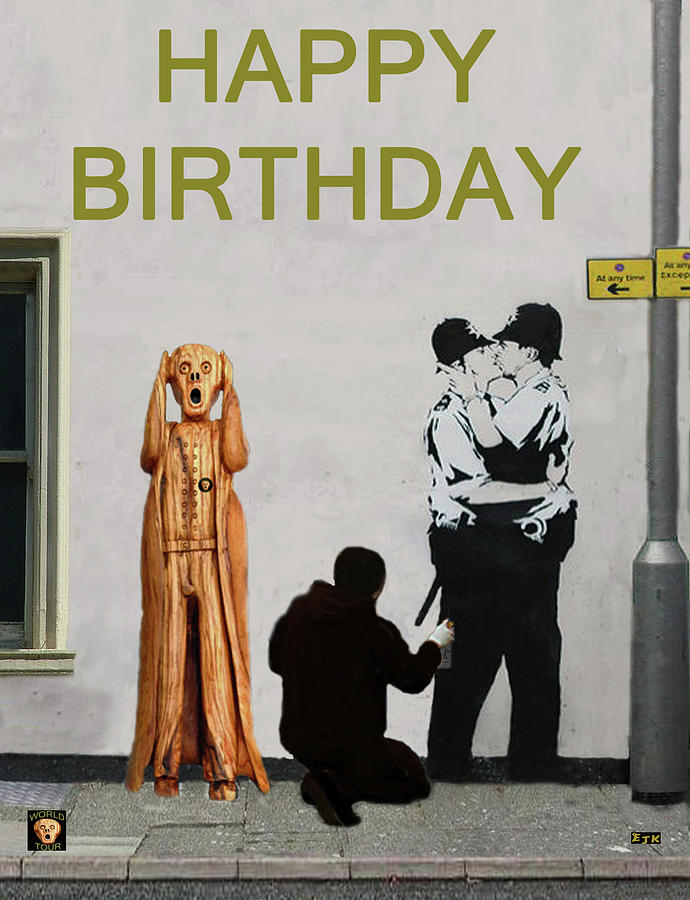 Happy Birthday Mixed Media - Police Street Art Scream by Eric Kempson