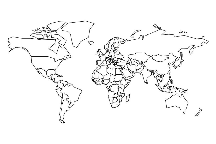 Political Map Of World Blank Map For School Quiz Simplified Black