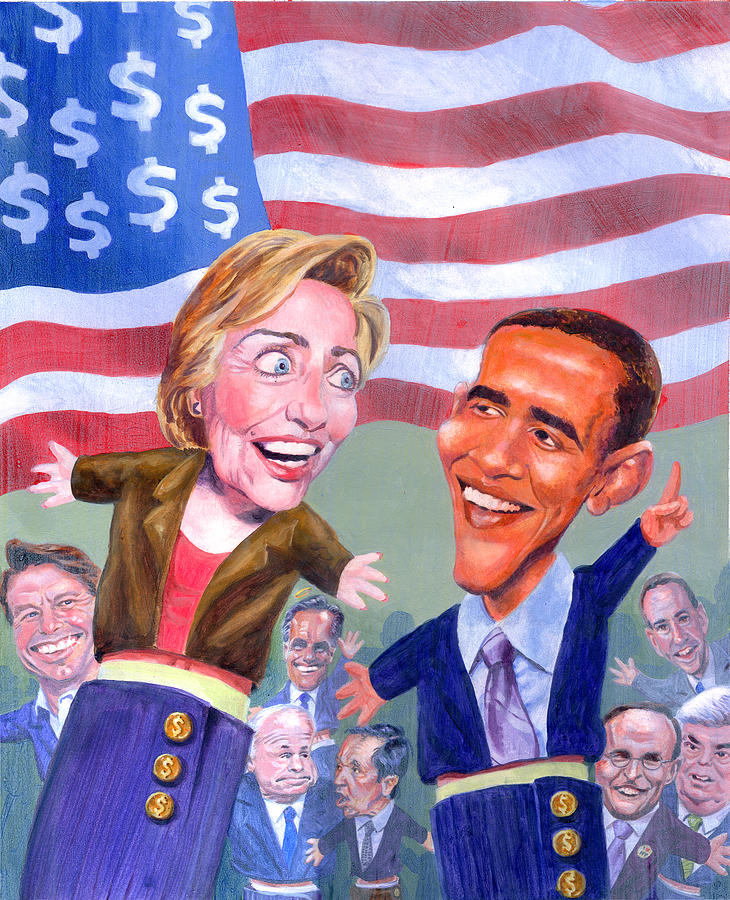 Hillary Clinton Painting - Political Puppets by Ken Meyer jr