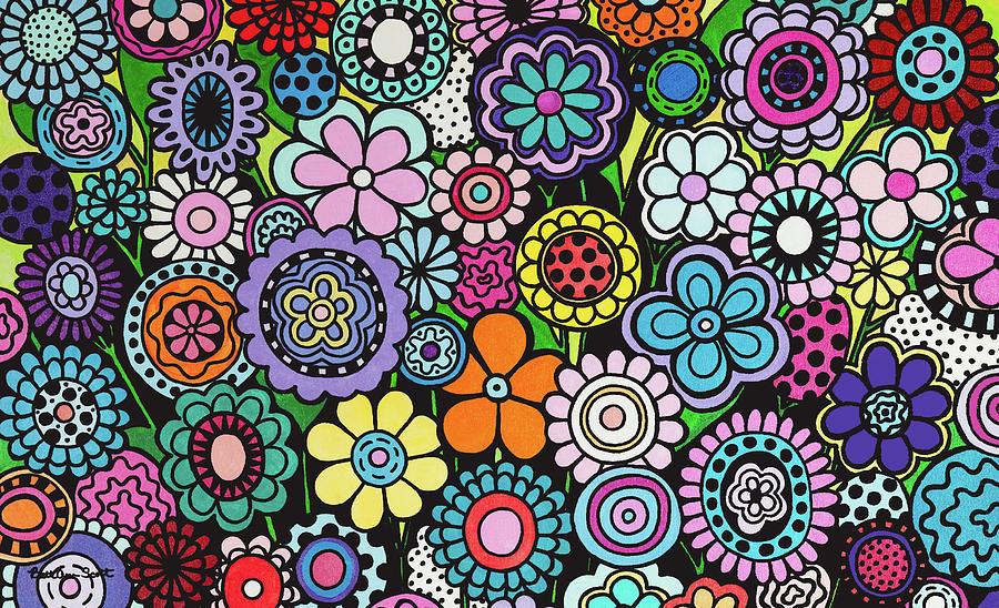 Flowers Painting - Polka Dot Bouquet by Beth Ann Scott