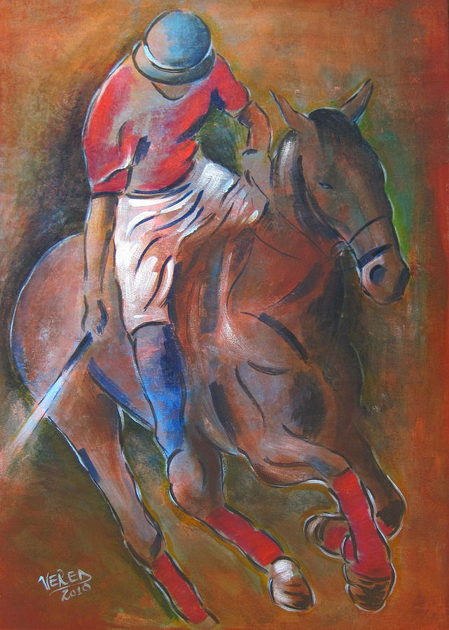 Polo Painting - Polo Player by Vered Thalmeier