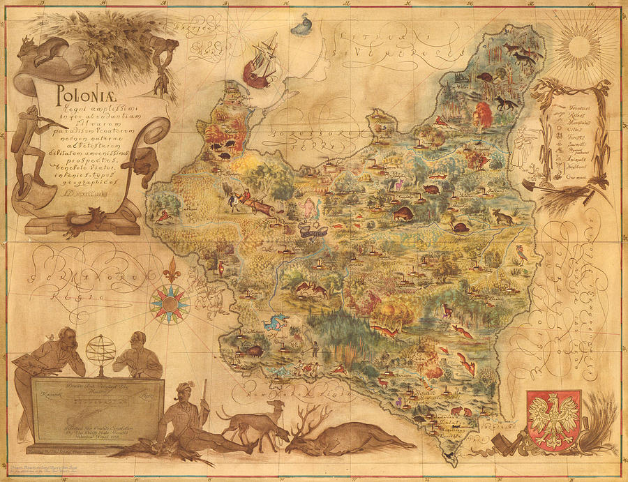 Poloniae - Antique Map Of Poland - Pictorial Map - Historic Map - Flora And Fauna Of Poland Drawing