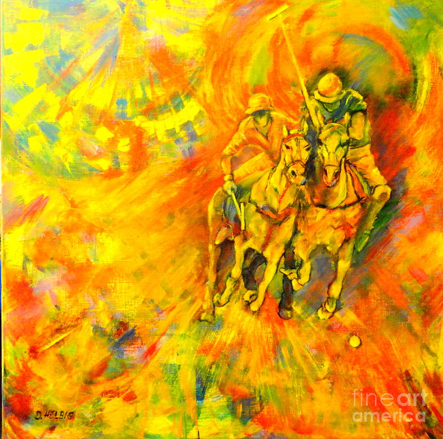 Horses Painting - Poloplayer by Dagmar Helbig