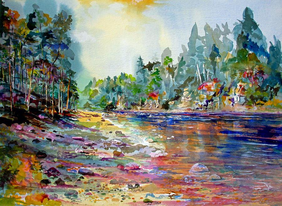 Salmon River Painting - Polveir Royal Dee Scotland by Mike Shepley DA Edin
