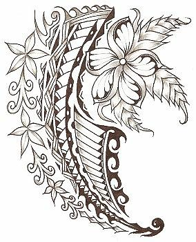 8c6943f42 Polynesian Flower Drawing by Kamu Kamu