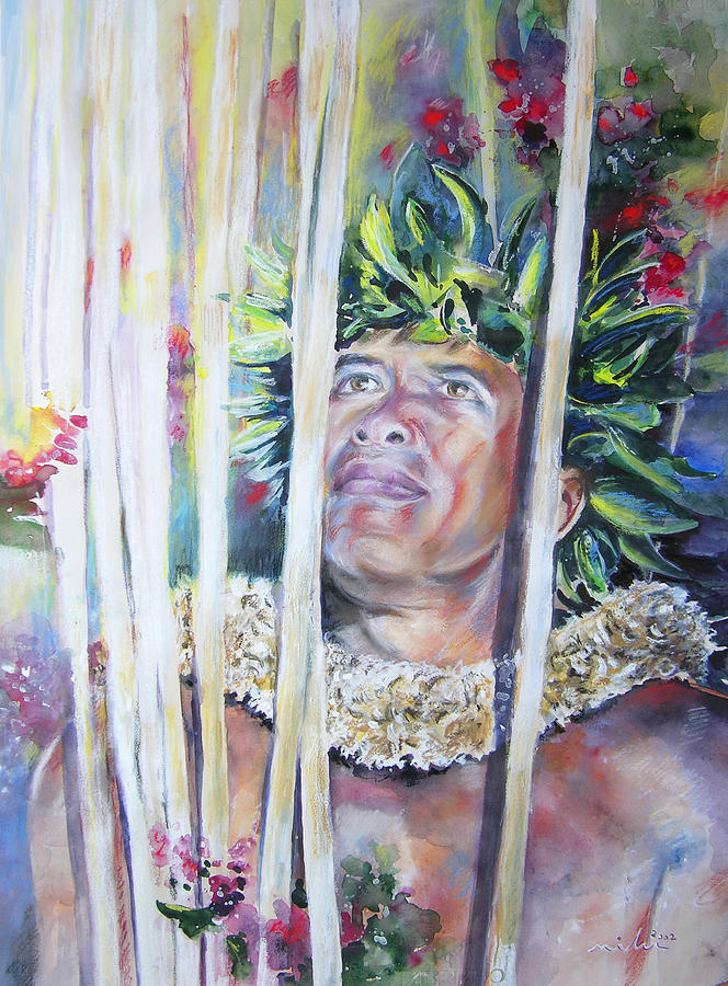 Polynesia Painting - Polynesian Maori Warrior With Spears by Miki De Goodaboom