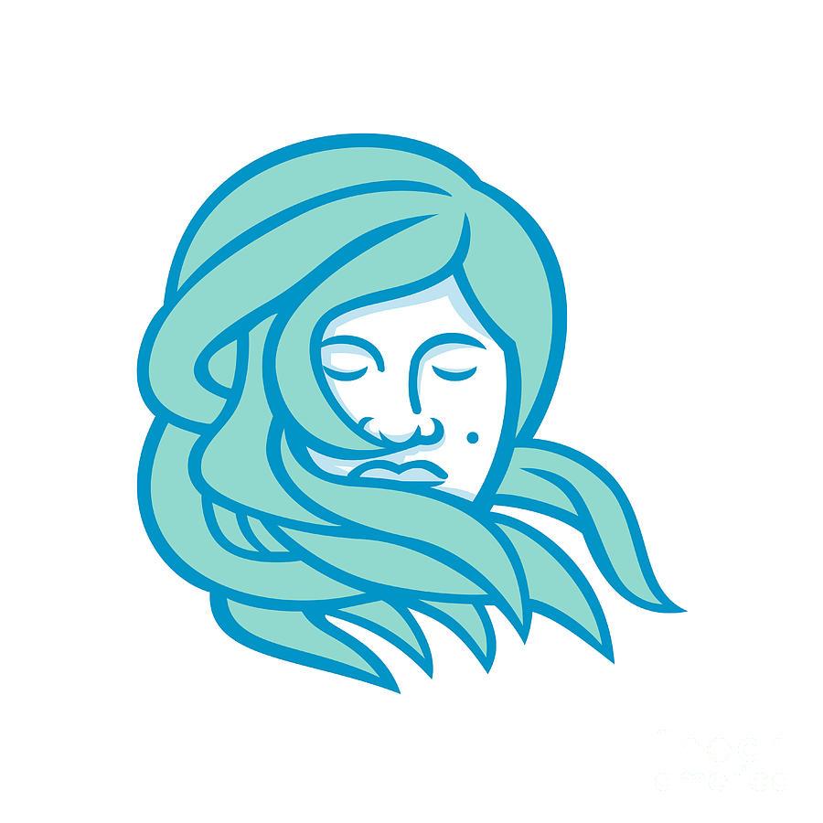 Mascot Digital Art - Polynesian Woman Flowing Hair Mascot by Aloysius Patrimonio