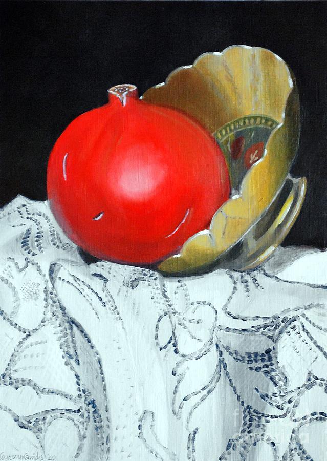 Pomegranate Painting - Pomegranate And Pot by Kostas Koutsoukanidis