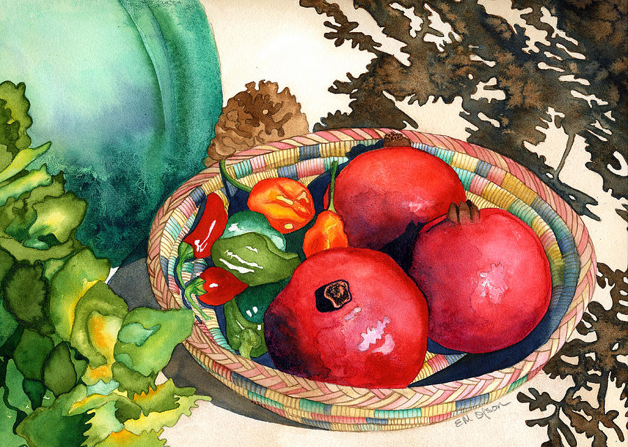 Still Life Painting - Pomegranates And Basket by Eunice Olson