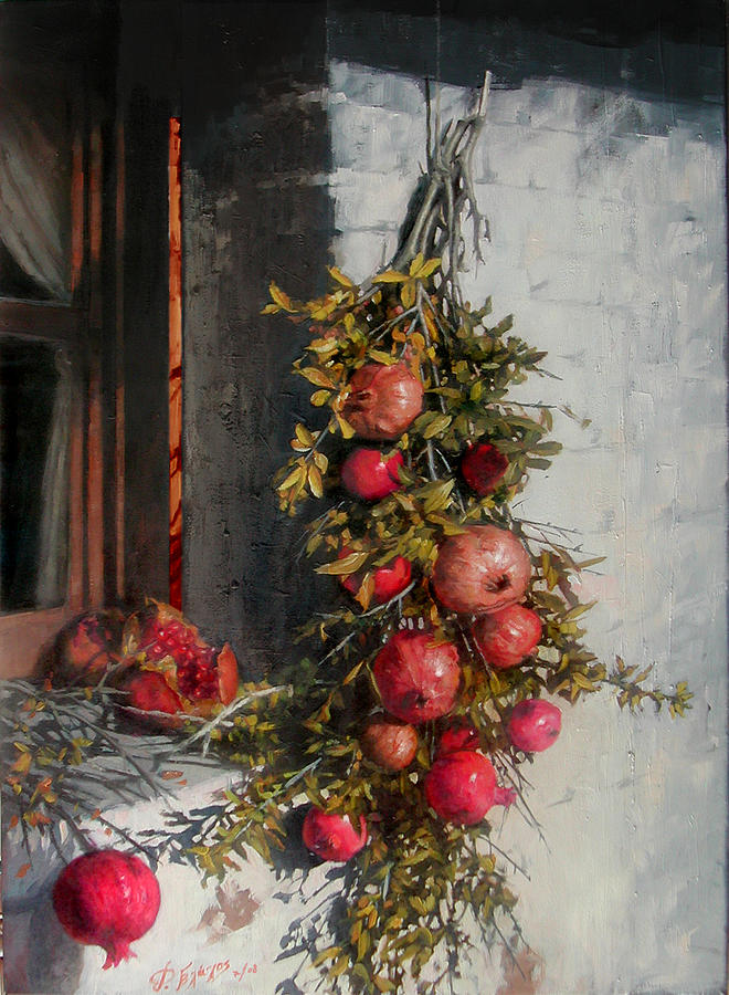 Pomegranates Painting - Pomegranates Beside An Old Window by Demetrios Vlachos